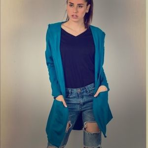 Blue Open Cardigan Sweatshirt- New With Out Tags